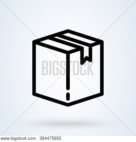 Box Or Package Icon Or Logo Line Art Style. Outline Parcel Concept. Carton Package Box Vector Illust