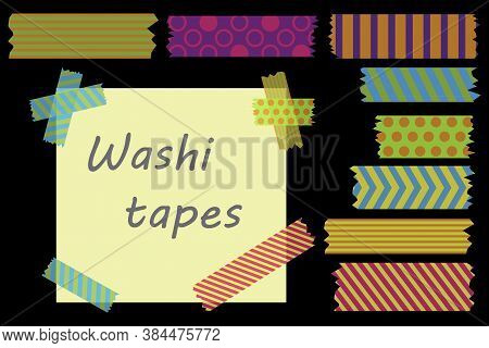 Colorful Adhesive Tape. Strips Of Colored Tape. Colored Labels On A Black Background. Vector Illustr