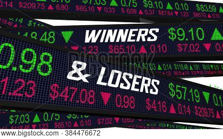 Winners and Losers Stock Market Share Prices Companies Up Down Rise Fall 3d Illustration