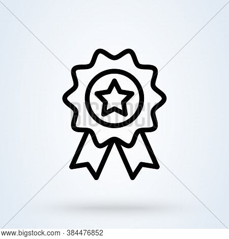 Star Award Or Medal Icon Or Logo Line Art Style. Outline Achievement Award Concept. Achievement Badg