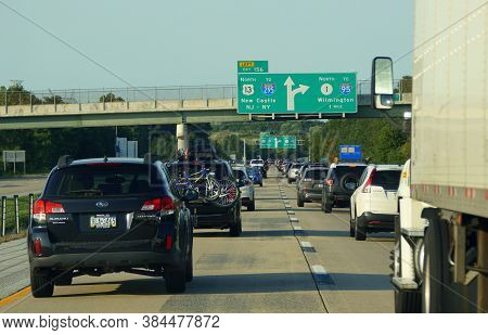 New Castle, Delaware, U.s.a - September 7, 2020 - Traffic On The Road Near Interstate 95, Route 13,