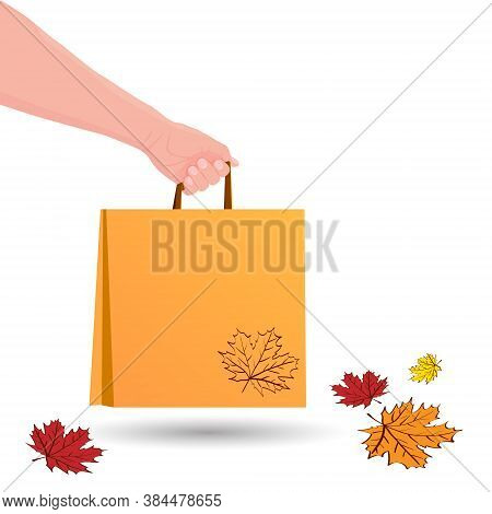 Hand Holds Shopping Bag. Food Delivery In Paper Packet. Shopping Or Gift Bag. Eco Bag Mockup Isolate