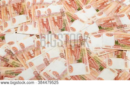 Russian Money With A Face Value Of Five Thousand Rubles, Close-up. The Concept Of Finance. Backgroun