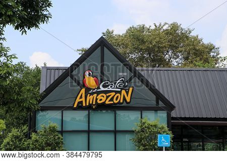 Muang, Pathum Thani, Thailand - Oct 7, 2019 : Logo Of Cafe Amazon Coffee Shop With Nature Environmen