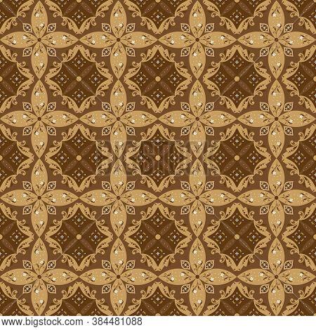 Beautiful Motif On Parang Batik Design With Seamless Golden Brown Color Design.