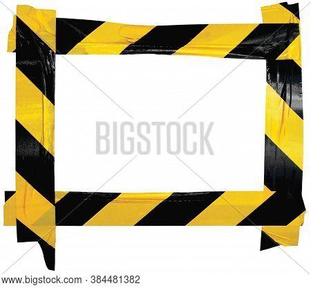 Yellow Black Caution Warning Barricade Tape Notice Sign Frame, Horizontal Adhesive Sticker Backgroun