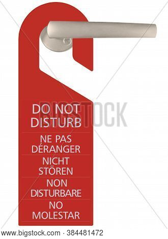Red Do Not Disturb Door Handle Cardboard Tag, Vertical Isolated Hanger Sign Macro Closeup, English,