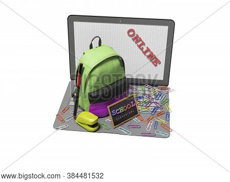 3d Rendering Concept School Online On White Background No Shadow