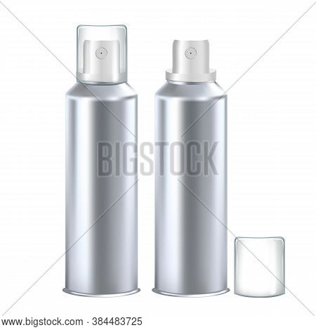 Deodorant Hygienic Product Blank Bottle Set Vector. Collection Of Deodorant Spray Metallic Container