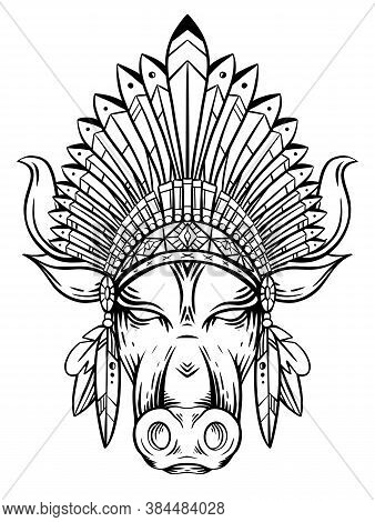 Outline Engraving Illustration Of A Bull Head With Indian Roach. The Symbol Of The New Year 2021. Co