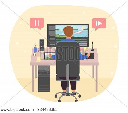 Motion Design Concept. Motion Designer At His Workplace. Man Creating Digital Animation On A Compute