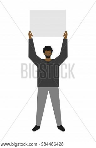 Vector Isolated Flat Concept. Single Picket And Strike Of African American Man. Fight For Human Righ