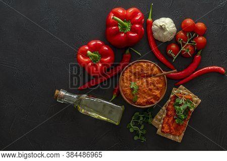 Traditional Autumn Balkan Vegan Spread Ajvar Or Aivar With Ingredients. Homemade Relish. Top View, C