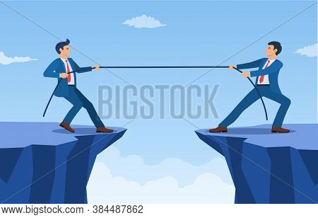 Two Businessmen Pulling Opposite Ends Of Rope Of Cliff, Business Competition Concept, Symbol Of Riva