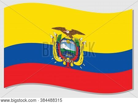 Waving Flag Of Ecuador Vector Graphic. Waving Ecuadorian Flag Illustration. Ecuador Country Flag Wav