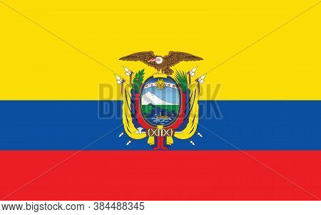 Ecuador Flag Vector Graphic. Rectangle Ecuadorian Flag Illustration. Ecuador Country Flag Is A Symbo