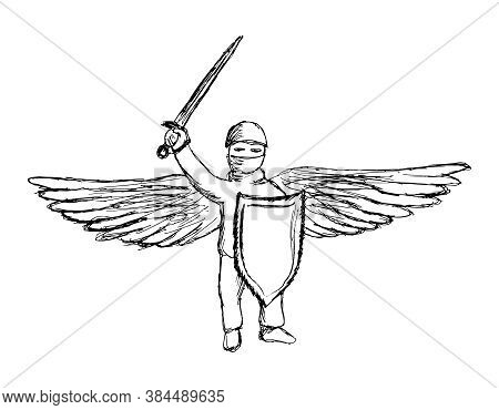 Simple Lineart Pencil Hand-drawing Of Winged Warrior With Sword And Shield. Black And White Outline