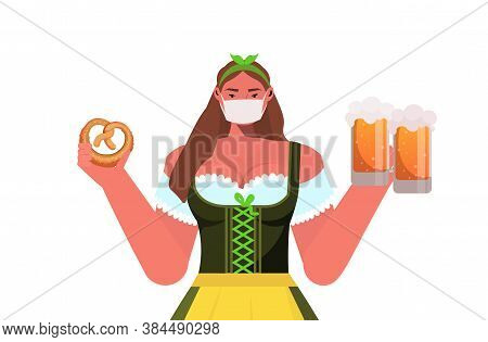 Woman In Medical Mask Holding Beer Mugs And Salty Pretzel Oktoberfest Party Celebration Coronavirus