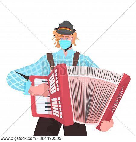 Musician Playing Accordion On Folk Festival Perform Music Oktoberfest Party Celebration Concept Man