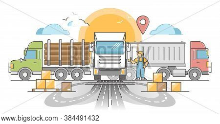 Trucking Transport Industry As Cargo Delivery By Road Outline Concept. Lorry, Log Carrier And Dump T
