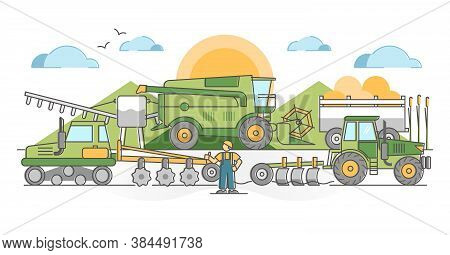 Agricultural Machinery For Agronomy Farming Field Harvest Outline Concept. Industrial Machines For C