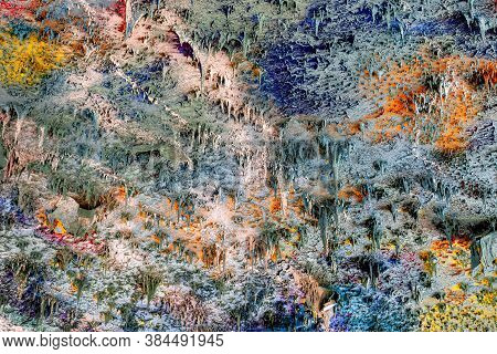 Colorful Decorative Ceiling Plaster, Reminiscent Of Multiple Small Slender Stalactites - Image