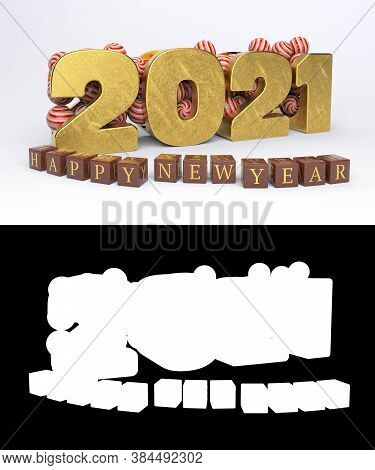 Happy New Year And Merry Christmas Two Thousand Twenty-one (2021). 3d Illustration.