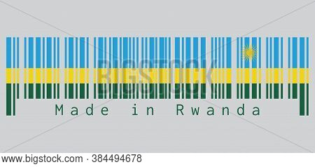 Barcode Set The Color Of Rwanda Flag, A Horizontal Tricolor Of Blue Yellow And Green With A Yellow S
