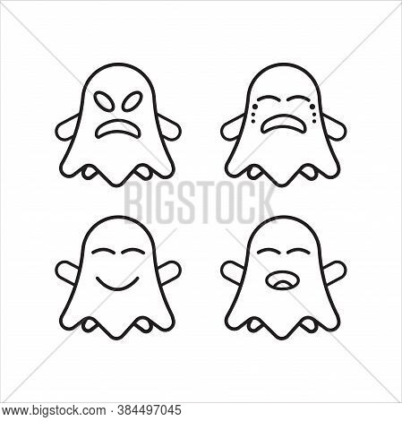 Uncolored Cute Ghost Emoticon Pack Vol.2. Flat Character Expression. Vector Illustration Collection.