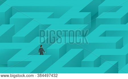 Businessman Wandering In A Maze And Trying To Find Way Out (solution Strategy Planning) - Labyrinth
