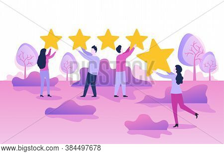 5 Stars Rating Positive Feedback Satisfaction Review Concept - Small People With Five Ranking Yellow