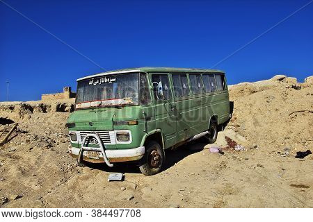 Nain / Iran - 02 Oct 2012: The Bus In The Abandoned City, Nain, Iran