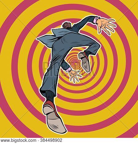 The Male Businessman Falls Forward. Pop Art Retro Vector Illustration Kitsch Vintage 50s 60s Style