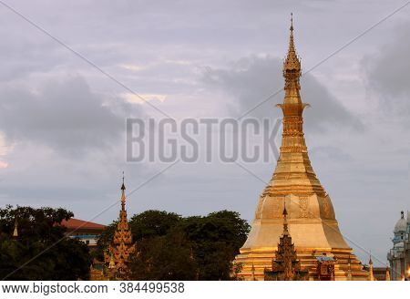 Golden Octagon Of Sula Pagoda Located In The Heart Of Downtown On The Junction Of Sule Pagoda Road,