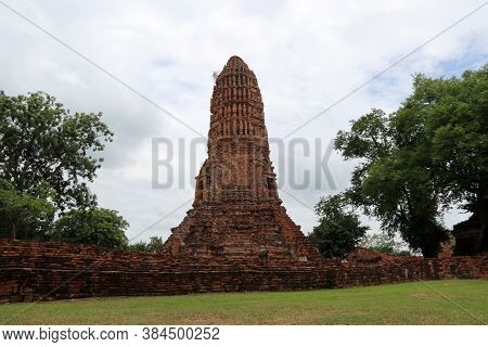 The Main Phra Prang Or Pagoda In The Ruins Of Ancient Remains At Wat Worachet Temple, It Built In 15