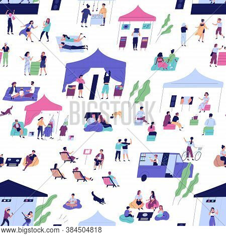 Seamless Pattern With People At Indie Open Air Festival Or Hipster Event Activity. Persons Chill Tog