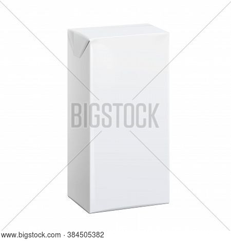 Realistic White Carton Pack For Juice, Milk And Other Drinks. Vector Illustration. Template For Mock