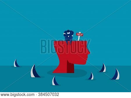 Businessman Alone On Big Head Human By Sharks. Concept Of Corporate Failure,imposter Syndrome