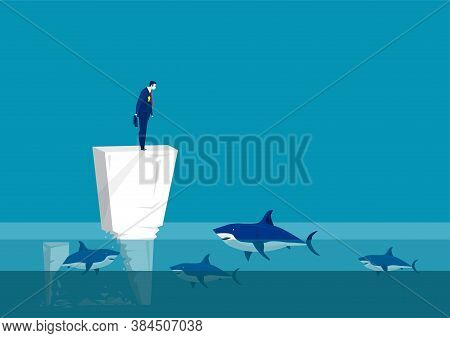 Impostor Syndrome Chalk Icon. Sad Man On On Wall In The Middle Of The Sea  Team Surrounded By Sharks