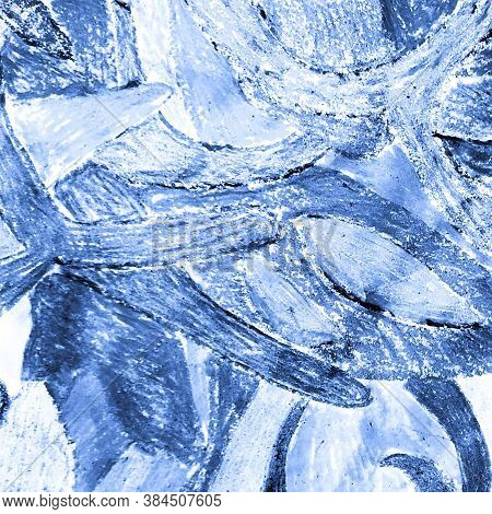 Indigo Dyed Fabric. Abstract Dyed Template.  Snowy Poster.  Vintage  Oil Painting. Winter Ornament.