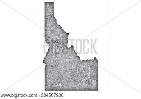 Detailed And Colorful Image Of Map Of Idaho On Weathered Concrete