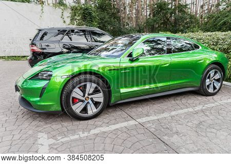 Kyiv, Ukraine - September 6Th, 2020: New Electric Zero Emission Sportscar Porsche Taycan Turbo In Ma