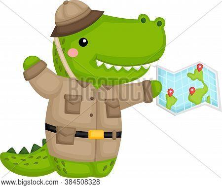 A Cute Crocodile In Safari Ranger Costume
