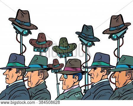 Surveillance Spy Total Video Surveillance Secret Information Privacy Concept. Comics Caricature Pop