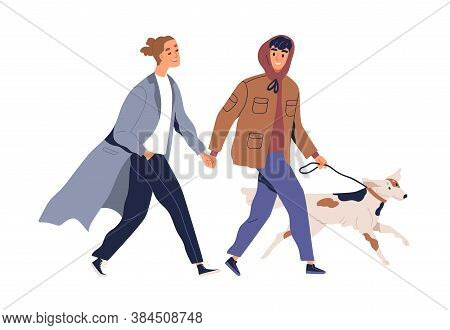 Homosexual Male Couple Holding Hands Walking With Dog Vector Flat Illustration. Two Guys Smiling Spe