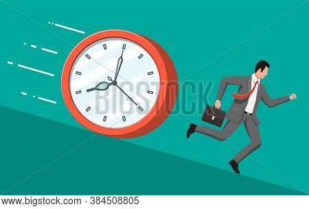 Businessman Is Running From Big Clock. Business Man Rushing Hurry To Get On Time. Overwork, Deadline