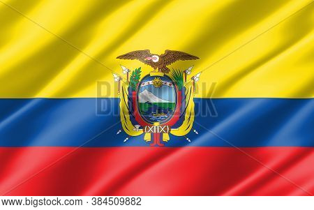 Silk Wavy Flag Of Ecuador Graphic. Wavy Ecuadorian Flag Illustration. Rippled Ecuador Country Flag I