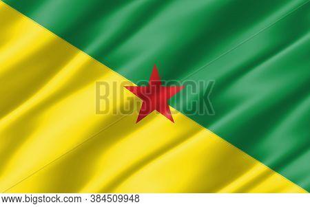 Silk Wavy Flag Of French Guiana Graphic. Wavy French Guianese Flag Illustration. Rippled French Guia