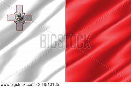 Silk Wavy Flag Of Malta Graphic. Wavy Maltese Flag Illustration. Rippled Malta Country Flag Is A Sym