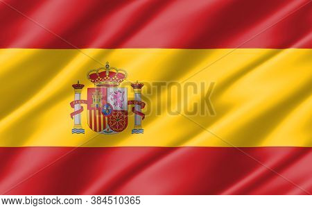 Silk Wavy Flag Of Spain Graphic. Wavy Spanish Flag Illustration. Rippled Spain Country Flag Is A Sym